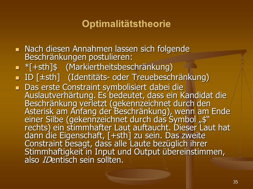 OptimalitätstheorieNach diesen Annahmen lassen sich folgende Beschränkungen postulieren: *[+sth]$ (Markiertheitsbeschränkung)